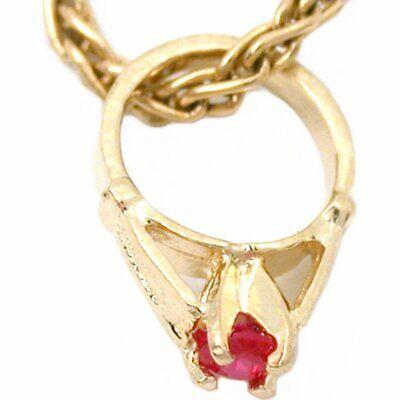 14K Gold July Birthstone Ring Charm Chain Jewelry 9.5mm Birthstone 14k Gold Ring Charm