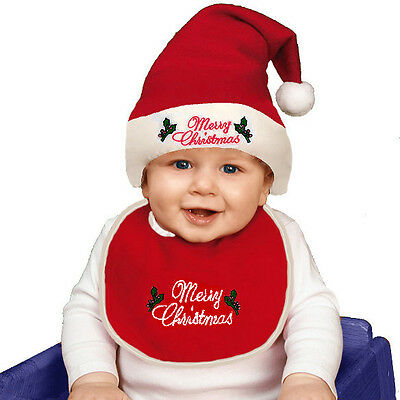 BABIES CHRISTMAS BIB & SANTA HAT RED PINK BLUE FANCY DRESS OUTFIT NEW