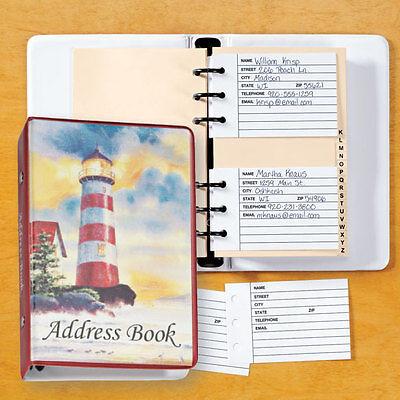 """NEW ~ Lighthouse Address Book Binder Spiral Loose Leaf 7 1/4""""x 5"""""""