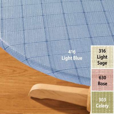 FITTED Vinyl Table Cover Weave Elasticized Round Oval Backed Blue Sage - Pink Round Table Cover