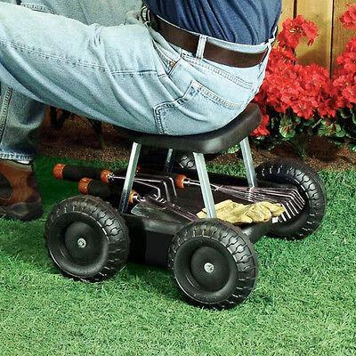 rolling Garden scooter gardening stool pad plant seat w/ wheels NO KNEALING !