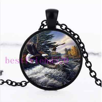 Eagle Glass Pendant - Flying Eagle Photo Cabochon Glass Black Chain Pendant Necklace
