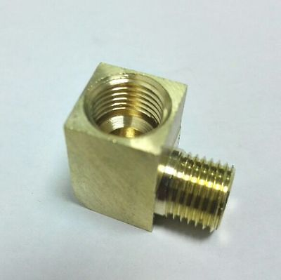 """Pipe Fitting 1/4"""" NPT Male to M8 M8X1 M8X1.0 Female Gauge Adapter 90 Elbow LA"""