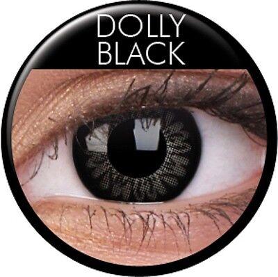 Farbige schwarz Big Eyes Kontaktlinsen mit Stärke Dolly Black Circle Lens Puppe