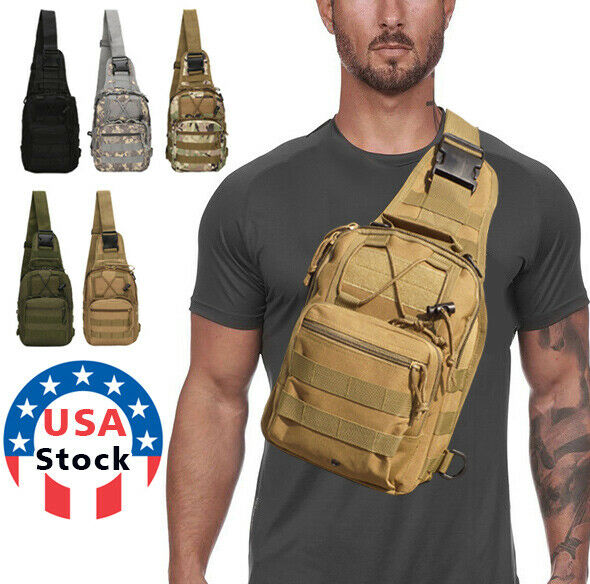 Men Backpack Molle Tactical Sling Chest Pack Shoulder Bag Ou