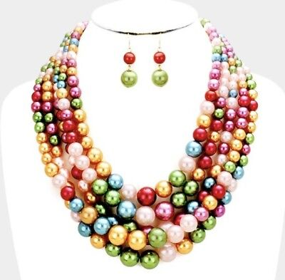 Pink Red Green Blue Chunky Bead Pearl Long Multi Layered Strand Necklace Set - Pink Bead Necklaces
