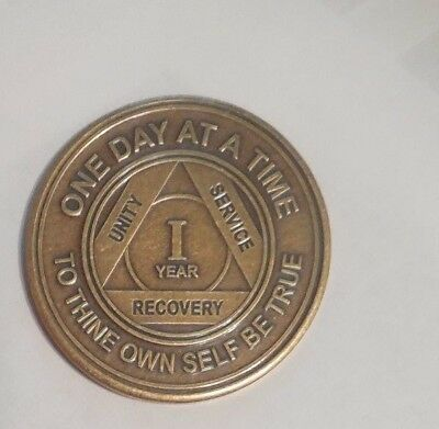 Used, NEW AA 1 YEAR BRONZE COIN CHIP MEDALLION ALCOHOLICS ANONYMOUS  for sale  Philadelphia