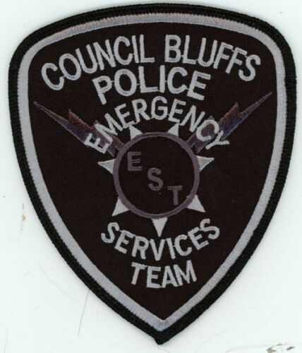 COUNCIL BLUFFS IOWA IA POLICE EMERGENCY SERVICES TEAM EST SUBUDED SHOULDER PATCH
