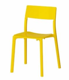 4 X IKEA JANINGE CANARY YELLOW STACKABLE DINING CHAIRS | BRAND NEW | ONLY £100