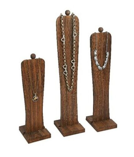 """3 Piece Tall Wooden Necklace Displays, Brown, 18"""" H, 15.5"""" H, and 12.5"""" H"""