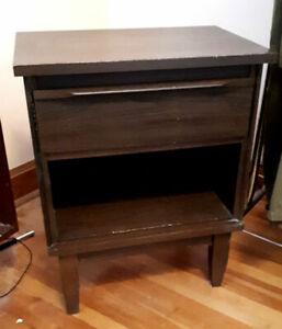 Vintage 1960's Solid Wood Mid-Century Modern Bed Side Table