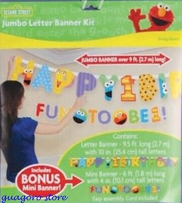 SESAME STREET 1st FIRST BIRTHDAY JUMBO LETTER BANNER KIT PARTY SUPPLY DECORATION](Sesame Street Birthday Banner)