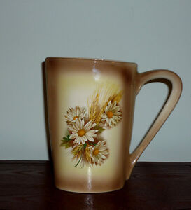 Pitcher / Vase ..White Daisy and Wheat motifs ... Like New
