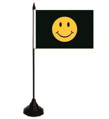 Tischflagge Smily schwarz  Tischfahne Fahne Flagge 10 x 15 cm
