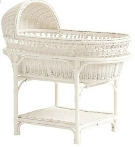 Pottery Barn Bassinet with mattress pad, bumper/skirt/pad cover
