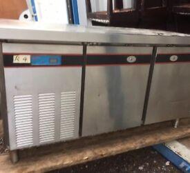 2 Commercial Counter Fridges & an upright Gram Freezer