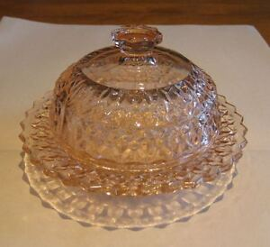 "Pink Depression Glass ""Holidays-Buttons and Bows"" Butter Dish"