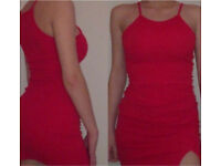 red prettylittlething bodycon dress