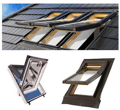 Dachfenster Kunststoff SKYFENSTER 78x98 + Eindeckrahmen + ROLLO