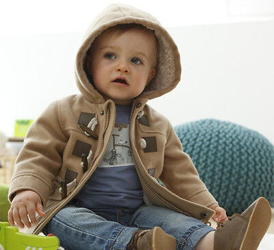 New Baby Toddler Boys spring winter Button Hooded Coat Outerwear Jacket 6M-4Y