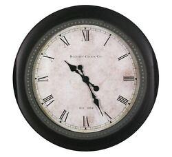 Baldauf Clock Company Black Oil Rub 30 Large Oversized Round Wall Clock,Modern