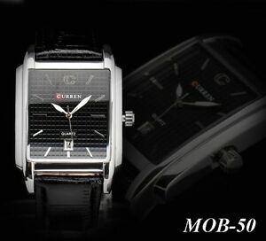 MOB-50 Montre Bracelet Quartz Analogique + DATE Cuir PU VVV