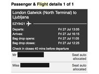 2 flights to Lubljana (one way) July 27th (Gatwick)