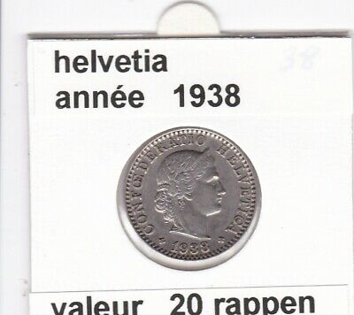 S 1 ) pieces suisse de 20 rappen   1938 voir description