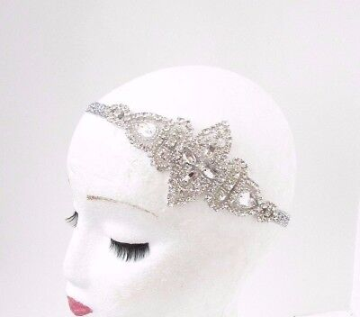 Silver Diamante Rhinestone Headband 1920s Great Gatsby Flapper Headpiece - Silver Flapper Headband