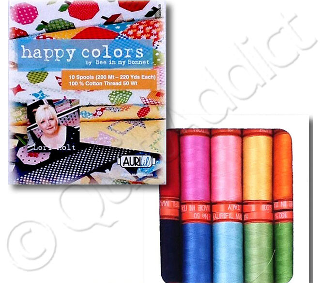 Aurifil Thread Set - Happy Colors By Lori Holt - 10 Small...
