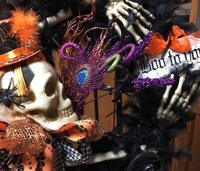 Wreath Halloween Floral Feather Boa Skeleton Hat Spooky Door Decor Room Sign