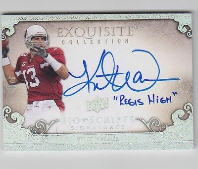 Kurt Warner 09 Ud Exquisite  Bio Scripts  Signatures  Ed 2 5  Regis High   Auto