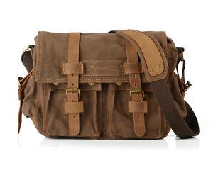 Mens-Vintage-Canvas-Leather-School-Military-Shoulder-Bag-Messenger-1099-coffee