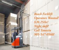 Reach Forklift - JOB FAIR $20.25/hr!