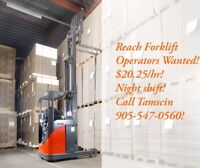 $20.25/hr - Reach Forklift Operators Wanted!