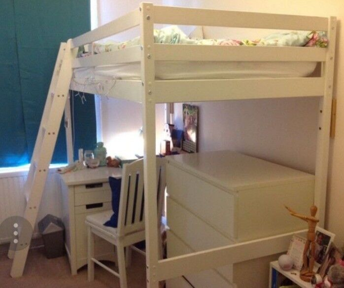 White wooden high sleeper single bed