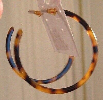 Faux Shell Earrings - THIN BIG ROUND OPEN HOOP FAUX TORTOISE TURTLE SHELL GOLD POST PIERCED EARRINGS
