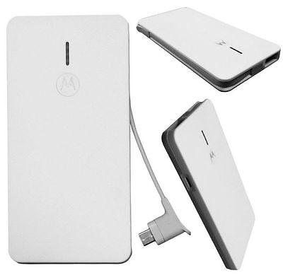 Motorola 2000mAh Slim Power Bank Backup Surface Battery Pack USB Charger Cable