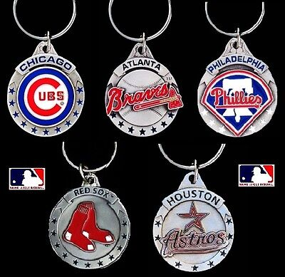 CHOOSE TEAM Key Chain Ring New Official MLB Solid Pewter Keychain Keyring *