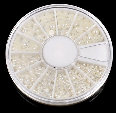 hot sale!! round Wheel Case Nail Art Decoration HALF FACE Pearl White Case new on Rummage