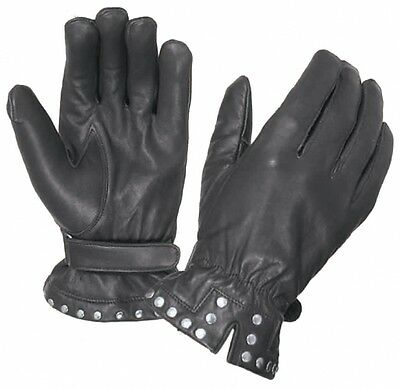 Womens Black Leather Motorcycle Glove - Studded - Unik - Biker - Light Lined
