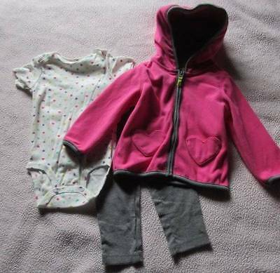 NWT 24 Month Girl Three-Piece Micro Set Zip Jacket Pant 1-Piece Polyester Cottn