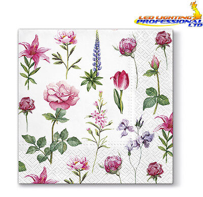 20 Paper Lunch Napkins BOONS OF GARDENS Serviettes Pink Flowers Roses Tulip 3ply