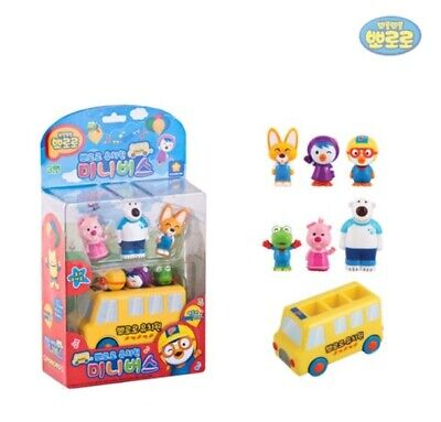 PORORO Friends Kindergarten Mini Bus Mini Auto Spielzeug + 6 Figuren Puppen