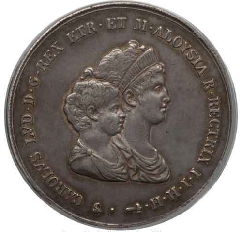 ITALY / ITALIAN STATES  TUSCANY  1807  10 LIRE SILVER COIN, PCGS CERTIFIED AU50
