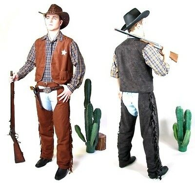 Cowboy-Kostüm Weste Chaps Überhosen Westernkostüm Fasching Karneval Hose Sheriff