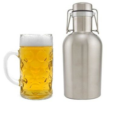 Stainless Steel Beer Growler 64 Oz - Craft Beer Bar Brewery Bottles 2 Liter Keg