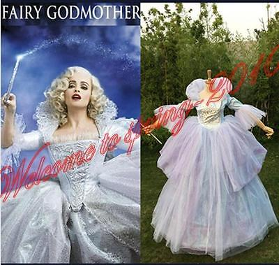 Hallowe Fairy God Mother Cinderella 2015 Movie New Gown Cosplay Costume Dress - Fairy God Mother Costume