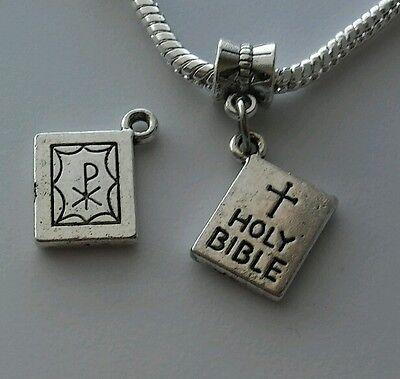 Holy Bible Charm - Silver Holy Bible Catholic Christian Dangle Bead For European Charm Bracelet