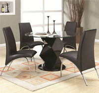 """BRAND NEW!! CONTEMPORARY STYLE, 45"""" GLASS TOP 5 Pc DINING SET"""